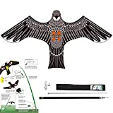 Yomyray Birds Repeller Flying Kite,Simulated Hawk,Flash Reflective Scarer,Wind Power Professional Pigeon Scarer Device for Backyard Lawn and Farm Garden Scarecrow (Kite and Rod-One Set)