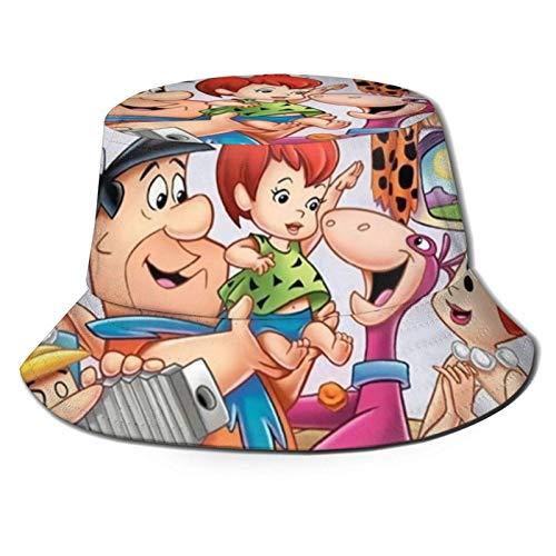 Ahdyr TV Show Flintstones Sombrero de Pescador Sombrero de Sol de Moda para Hombres y Mujeres - Gorra de Cubo de ala Ancha Transpirable Ultravioleta para Pesca al Aire Libre Senderismo Negro