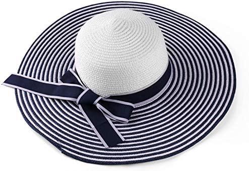 ECCRIS Women Summer Foldable Navy Blue White Striped Wide Brim Floppy Straw Hat product image