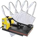 HELO Transferpresse Textilpresse mit 38x38 cm teflonbeschichteter Heiz-Druckplatte, 20 kg Druck durch verbesserter Hebeltechnik und Silikonmatte zur Druckverteilung, inkl. 5 x Taschen in Weiß