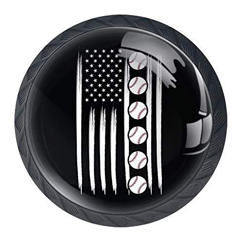 Botones de cristal de la bandera americana de béisbol 4 piezas de 35 mm asas de cajón para armarios aparador armario