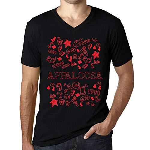 Herren Tee Männer Vintage V-Ausschnitt T-Shirt Doodle Art Appaloosa Noir Schwarz Roter Text