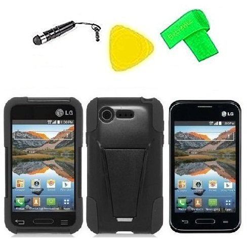 Heavy Duty Hybrid Phone Cover Case Cell Phone Accessory + Extreme Band + Stylus Pen + LCD Screen Protector + Yellow Pry Tool For Straight Talk Tracfone LG Optimus Fuel L34C / Verizon LG Optimus Zone 2 VS415 Vs415pp (T-Stand Black Black)