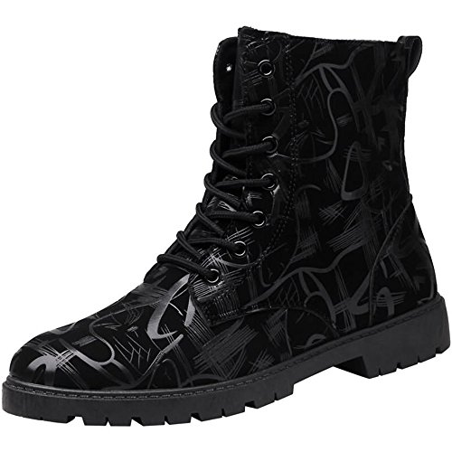 JIANGNANCHUN Mannen enkellaarsjes naaldhak Lace up British Style Fashion Vrije tijd Schoenen (Color : Black, Size : 44 EU)
