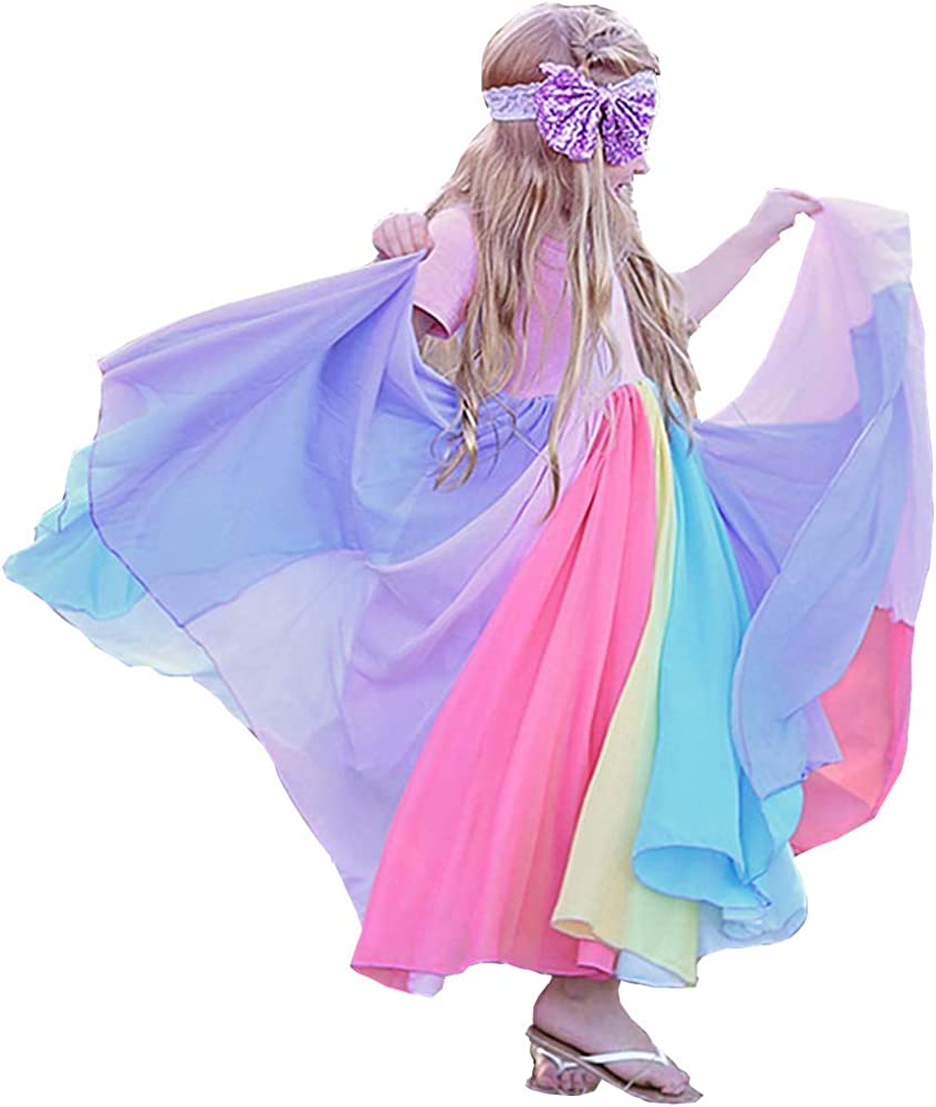 Toddler Kids Baby Girl Rainbow High quality new A-Line Casual Twirly Dress wholesale Twirl