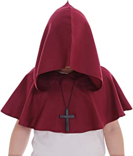 CosplayDiy Medieval Monk Priest Robe Cosplay Halloween Hooded Short Cape Costume Cloak with Necklace