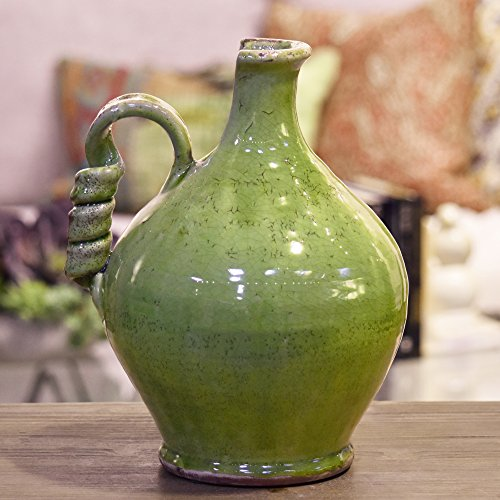 Urban Trends Keramik rund bauchige Tuscan Vase mit gewickelten Griff Krakelee Used-Optik grün, gelb, mittel (20,3cm-15)