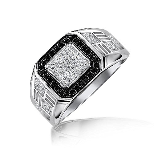 Mens Geometric 925 Sterling Silver Micro Pave Halo Square White Black CZ Cubic Zirconia Pinky Engagement Ring For Men