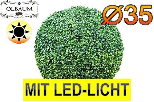 Buchs mit LED-Beleuchtung, Echtbaum-Optik, große Buchskugel Buxbaum Durchmesser 35 cm 350 mm grün dunkelgrün