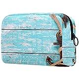 Organizzazione della borsa il trucco Custodia portatile cosmetici Piattaforma di legno dell'ancora d'annata per viaggi all'aperto
