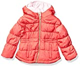Osh Kosh Girls' Little Heavyweight Winter Coat with Cinched Waist, Poppy Red, 5/6