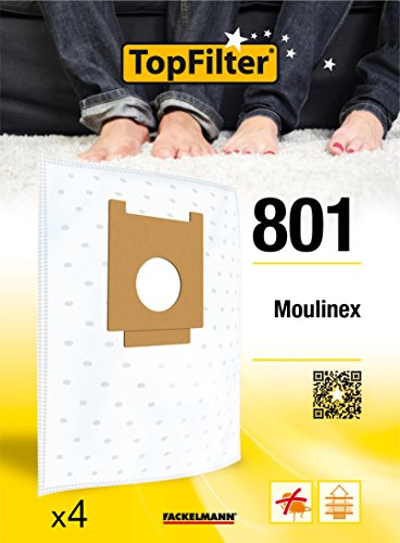 TopFilter 801, 4 sacs aspirateur pour Moulinex boîte de sacs d'aspiration en non-tissé, 4 sacs à poussière (30 x 26 x 0,1 cm)