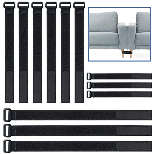 LICAXVL Velcro Cable Ties 12 PCS, Sectional Connectors for Sliding Sofas Adjustable Multi-Purpose Couch Connector Black 22~30inch Keep Sectional Couch Together with No Tool or Screw