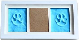 WNGGADH Cadre photo en bois pour animal de compagnie avec empreintes de pattes de chien Bleu