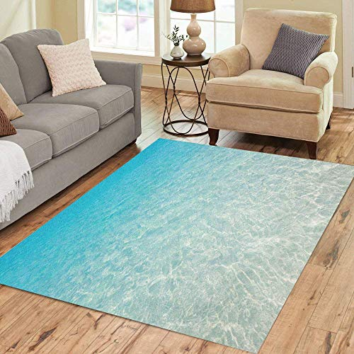 Alfombra de área azul transparente tropical, playa, océano, calma, caribeño, decoración del hogar, 120 cm x 170 cm