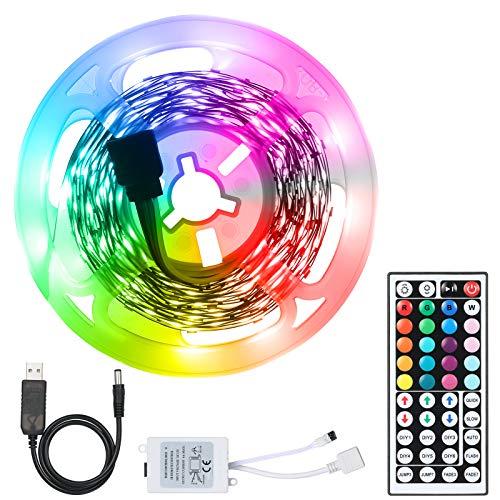 Decdeal Juego de Tiras de Luces LED USB RGB,Iluminación de Cadena LED Flexible,con Control Remoto de 44 Teclas/20 Colores y 6 Modos/Tiras de LED Autoadhesivas Cortables