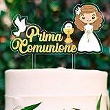 Decoración para tarta de comunión de niña con figuras troqueladas, ideal para colocar encima de tartas y pasteles de fiesta | Adornos para tartas y tartas elegantes con diseño de figuras de niña