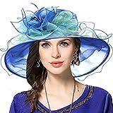 Mujeres Organza Church Derby Fascinator Sombrero Nupcial Boda Pamelas (37-Azul)