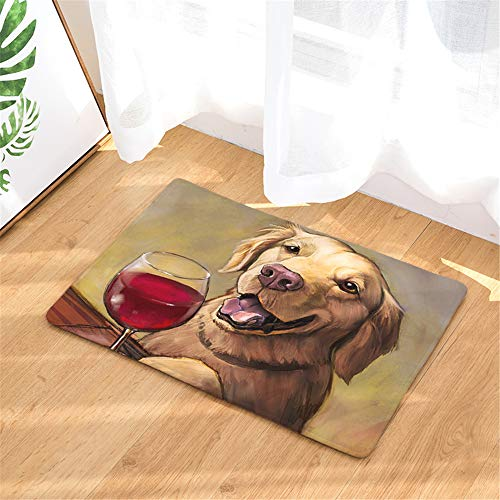 QLXG Badmat Antislip Deurmat Tapijten Persoonlijkheid Olieverfschilderij Hond Print Matten Vloer Keuken Badkamer Tapijten 40x60or50x80cm