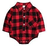 Newborn Christmas Baby Girl Boy Blouse Plaid Deer Plaid Flannel Jumpsuit Bodysuit Clothes Red