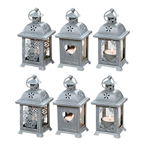 Whole House Worlds Romantic French Country Style Hearts, Flowers Lace, Candle Lanterns, Set of 6 LED Tea Lights, 2 3/4 x 2 3/4 x 5 1/2 inches (7 x 7 x 14 cm), Gray Metal Glass WHW