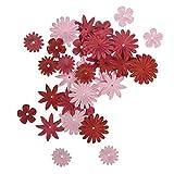 Rayher Hobby 7895518 Papier-Blütenmischung, versch. Größen, 1,5 - 2,5 cm, 4 Sorten, SB-Tube 36 Stück, Rosé-/Rottöne, Streublüten, Blütenköpfe, Streudeko Blumen
