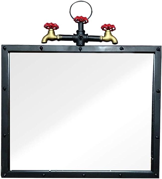 Specchio retrò rettangolare in ferro battuto da appendere a parete stile industriale lucidato a mano 387211