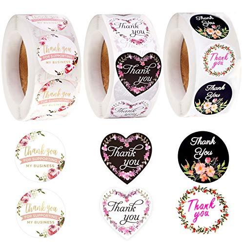 1500 Pezzi Adesivi Grazie di Rotondo Adesivi per Etichette Thank You for Supporting My Small Business per Buste Sigilli Decorazioni Articoli Feste