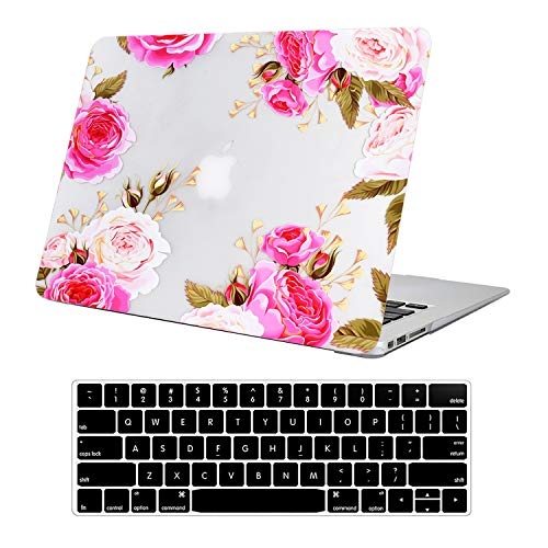 Funut MacBook Pro 13 Inch Case 2015 2014 2013 end 2012 Model A1425/A1502 3D Effect Matte See Through Rubberized Hard Shell Cover+Keyboard Cover for MacBook Pro 13' Retina Non CD ROM,Pink Rose