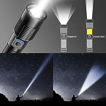 Lampe Torche LED Ultra Puissante - Lampe de Poche Rechargeable 3000 Lumens S6000 Lampe Tactique, Lampe Torche LED Rechargeable USB, 5 Modes Torche Lampe de Poche Intensité Ajustable Zoomable étanche