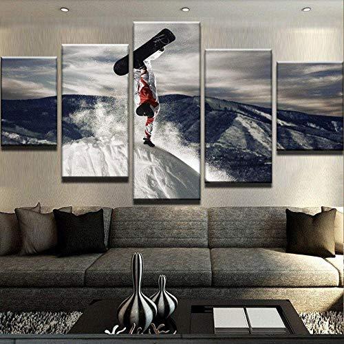 YUANJUN 3D Leinwanddrucke,Modulare Wandkunst Wandaufkleber,5 Teiliges Wandbild,Mit Rahmen,Größe 150 X 80 cm Leinwandbild, Wandbilder XXL Snowboard Boarding Bergluft Winter