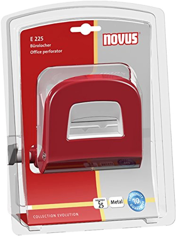 Novus Novus E 225 Office Hole Punch, red/Grey, Metal, 2.5 MM / 25 Sheets