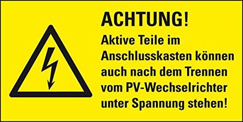 LEMAX® Kombi-Warnschild Achtung! Aktive Teile können auch nach dem..., Folie, 37x74 mm