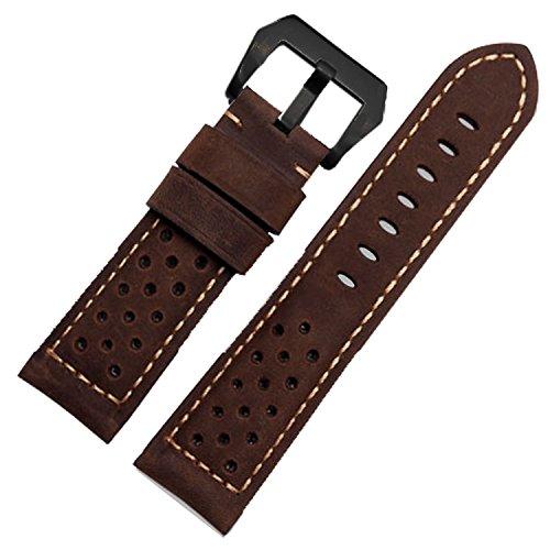 Marrone assolutamente in pelle perforata Racing orologio da polso con...