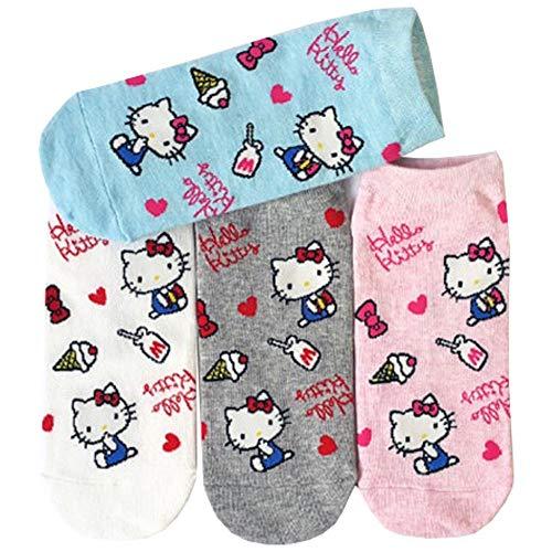 Japanisch Charakter Sneakersocken Hallo Kitty Damen Knöchel Socken 4 Paaren