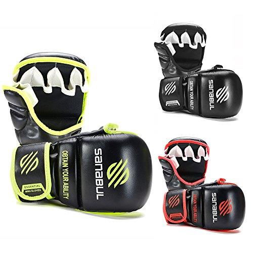 Sanabul New Item Essential 7 oz MMA Hybrid Sparring Glove (Black/Green, Small/Medium)