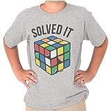 Solved It Peeling Cube Rubik's Crewneck T Shirts Boy Girl Sport Gray