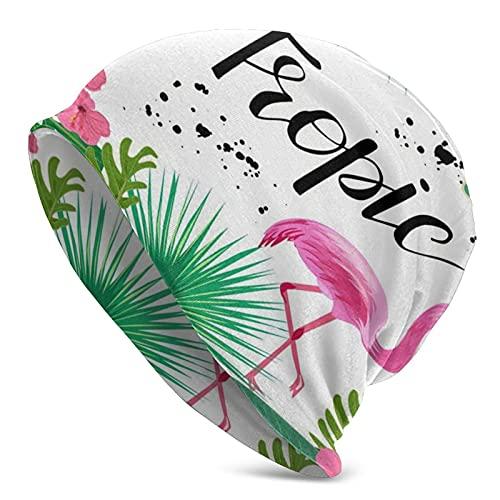 Cute Pillow Colorido Brillante Plantas Tropicales Flores Rosa Flamingo Mujeres Sombrero De Punto Bufanda Conjunto Invierno Caliente Espesar Crochet Beanie Hat Cap Esquí Al Aire Libre