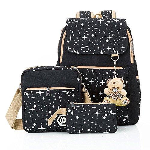 Hotrose 3X Girl School Bags Travel Canvas Rucksack Backpack School Shoulder...