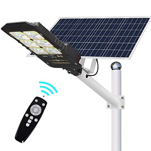 ECO-WORTHY 300 W Solar Street Flood Lights Outdoor Lamp, 660 LEDs 12000 LM with Remote Control, Light Control, Motion Sensor Dusk to Dawn Security Light for Road, Farm, Parking Lot