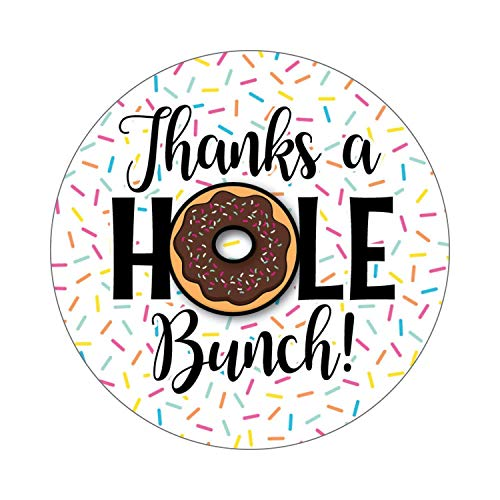 36 2.5-inch Donut Stickers - Thank You Labels - Thanks a Hole Bunch