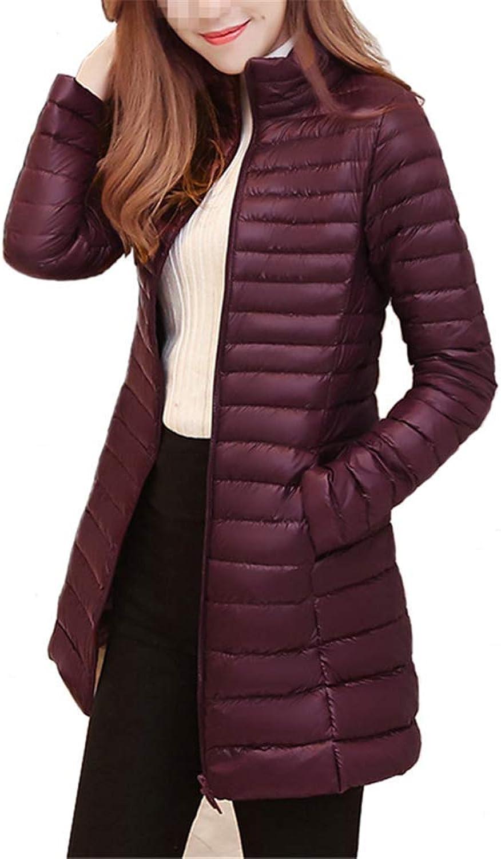 Loozo Winter Women Fashion Stand Collar Long Slim Slim 85% Duck Down Jacket