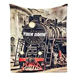 CUXWEOT Custom Blanket with Name Text,Personalized Retro Steam Train Super Soft Fleece Throw Blanket for Couch Sofa Bed (50 X 60 inches)