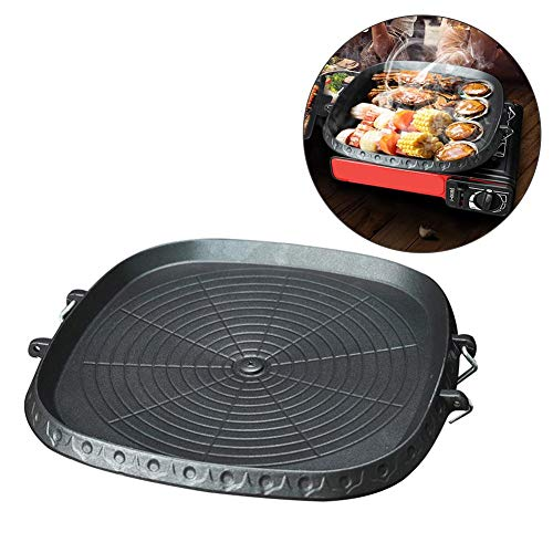 Stylishbuy Korean-style Square Grill Pan With Maifan Stone Coated Surface Non-stick Smokeless Stovetop Plate For Indoor Outdoor BBQ (Black)