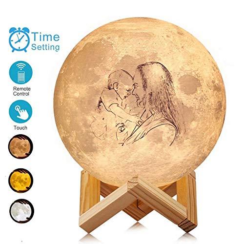 Individuelles Foto Mond Lampe - Personalisierte Mondlampen-Skizze Gedrucktes Mondlicht 16 Farben Mondnachtlicht Passen Sie Ihr eigenes Foto Text Luna Lampe für Weihnachtsgeschenke an