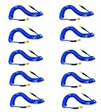 """YOTOO Polyurethane Recoil Air Hose 1/4"""" Inner Diameter by 25' Long with Bend Restrictor, 1/4"""" Industrial Quick Coupler and Plug, Blue. 10-Pack"""