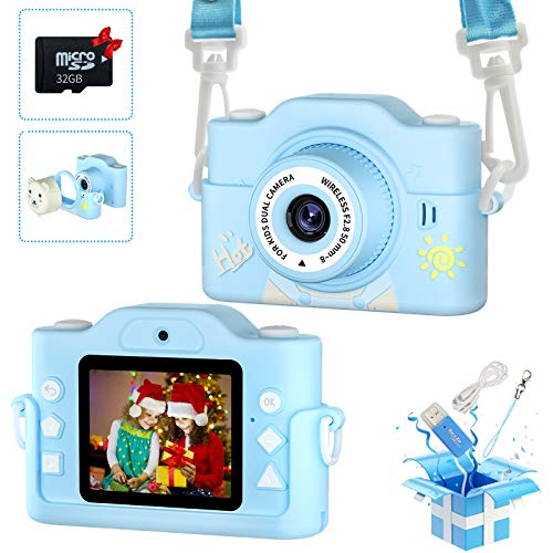 HaFundy Kids Camera, Toy Camera with 32GB SD Card &Dual Camera, HD 1080p Lens Kids Digital Camera with MP3 Player, Child Camera Video Recorder with 2.0 Inch IPS Screen, Kids Selfie Camera for 2-12