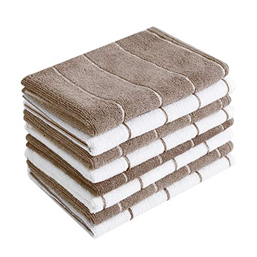 Microfiber Kitchen Towels - Super Absorbent, Soft and Solid Color Dish Towels, 8 Pack (Stripe Designed Brown and White Colors), 26 x 18 Inch