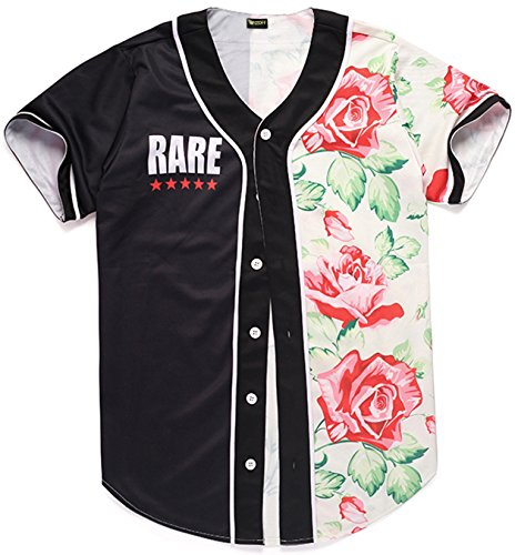 PIZOFF Baseball T-Shirt Youth Men Top Tee Floral Print Basketball Jerseys Button Down Short Sleeve Shirt