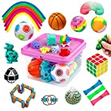 Sensory Fidget Toys Set, Fidget Sensory Toys Bundle for Kids Autism, ADHD, Adults Anxiety Stress Relief Kit with Stress Balls, Squishy, Stretchy String, Puzzle Balls Variety 27 Pack
